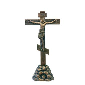Ikonkrucifix, stående, mellan, gips