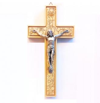 Krucifix, blomdekorerad, 16 cm