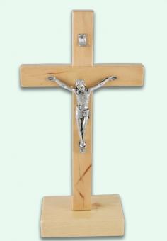 Krucifix, stående, alträ, ljust (ca 21cm)