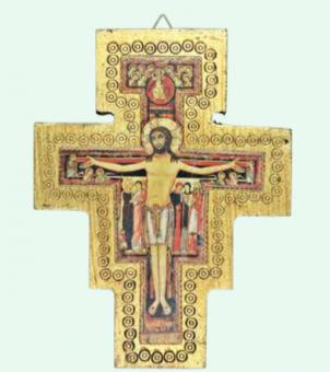 San Damiano-kors, vägg, trä, 16 x 12cm