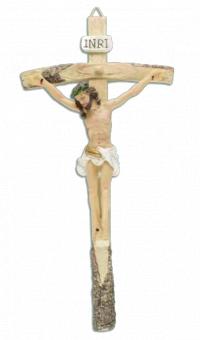 Krucifix, målat, 26cm