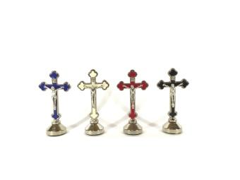 Krucifix-magnet, mörgrön, stående