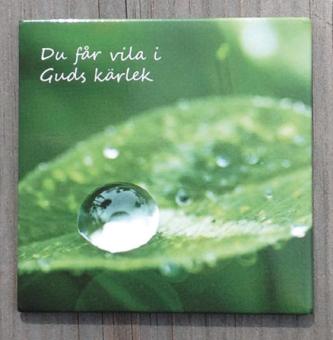 Vattendroppe på blad - magnet 6x6cm