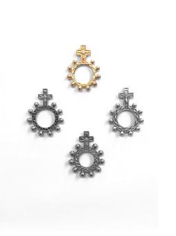 14 Rk-ring 14: platt, silverfärgad m kors, 17mm
