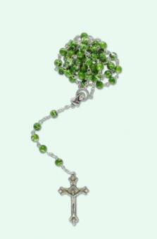 Rosenkrans m grön-vit-strimliga pärlor