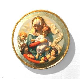 "Maria & Jesusbarn, vägg, rund, ""gloria"""