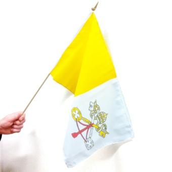 Vatikanflagga m trästång, hand