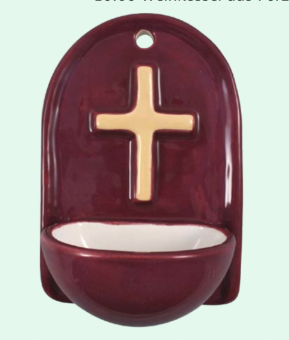 Kors, keramik, röd vigvattenskål
