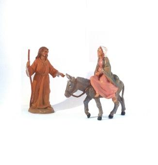 Josef+Maria på väg till Betlehem (12 cm)