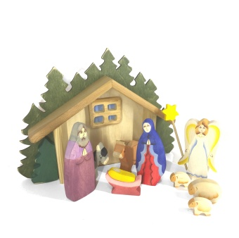 komplett Julkrubba, målad (trä)