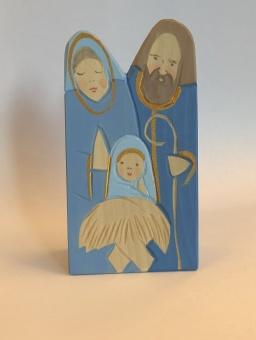 Josef med familj, trä, 13 cm, blå+blå