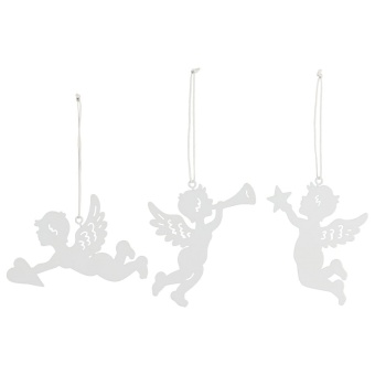 Ängel m hänge, vitmålad zink, 10x10cm