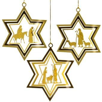 Stjärn-format julgranspynt, guldig metall