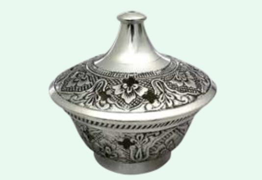 Rökelsekar stort silverf., dek. med lock