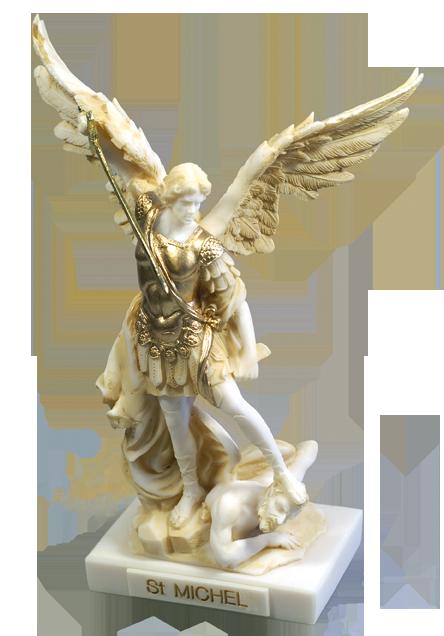 Ärkeängeln Mikael, alabaster + guldfärg