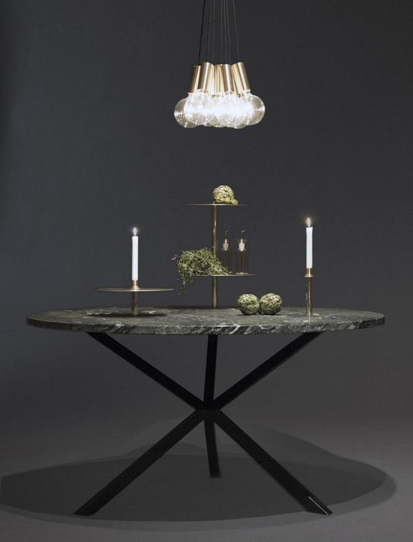 NEB Round Dining Table with Top in Verde Italia Granite