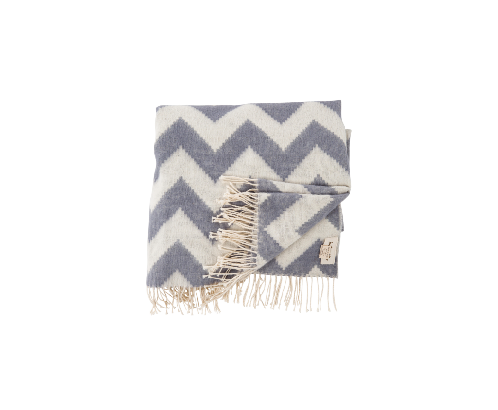 Zig Zag Baby Alpaca Throw Grey