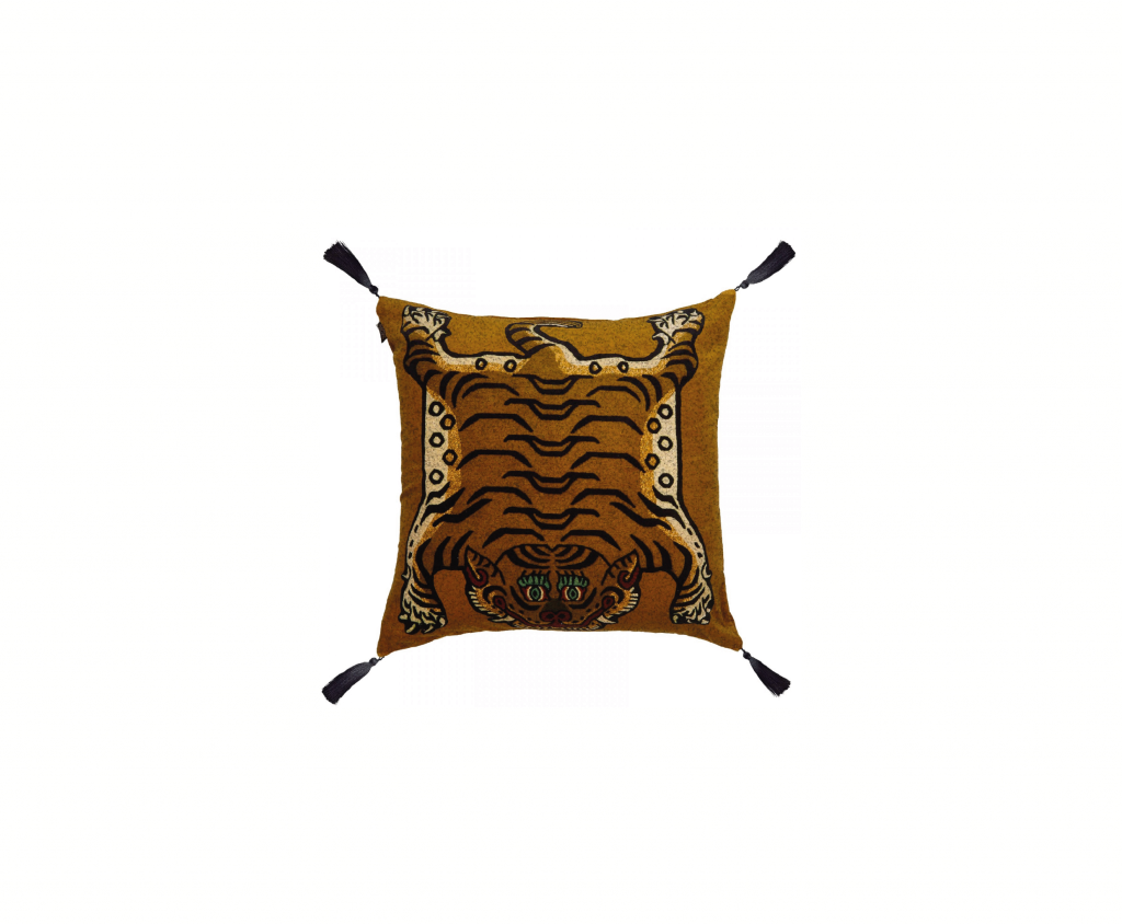 Saber Large Velvet Cushion Gold