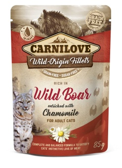 Carnilove Cat Pouch Wild Boar enriched with Chamomile 85 g