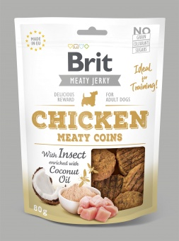 Brit Jerky Snack, Chicken & Insect Meaty Coins