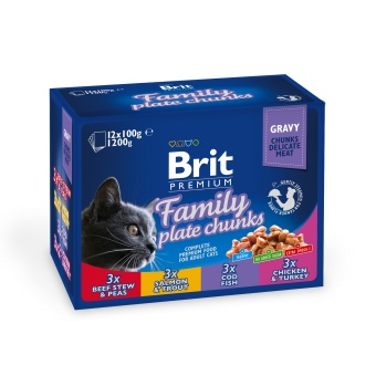 Brit Premium Pouches, Family Plate chunks