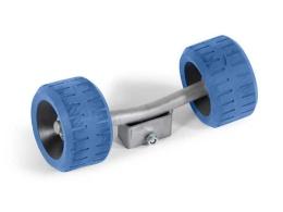 Sidorullshållare dubbel med blå rullar utan rör 30x30
