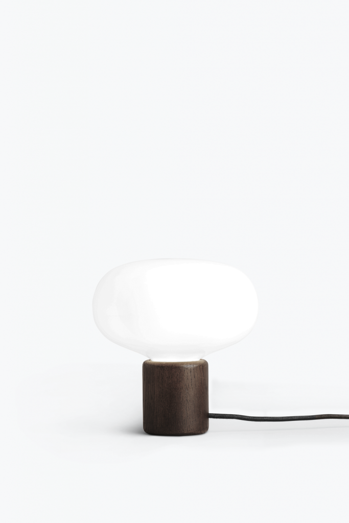 New Works Karl-Johan Lamp Smoked Oak with White Opal Glass