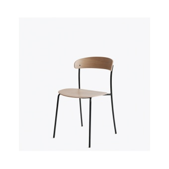 New Works Missing Chair Utan Armstöd Lackerad ek/Svart ram