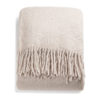 Stackelbergs Mohair Pläd Rolled Fringe Portabello