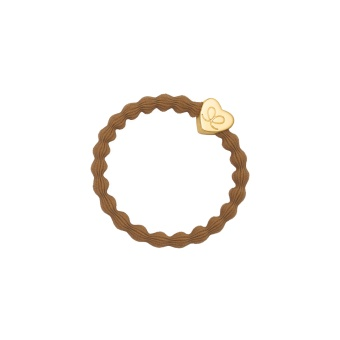 ByEloise London hårsnodd Gold Heart Camel