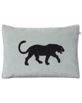 Chhatwal & Jonsson Kudde Velvet Embroidered Black Panther Aqua 40x60 cm