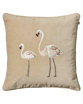 Chhatwal & Jonsson Embroidered Flamingo Velvet Beige