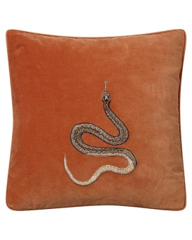 Chhatwal & Jonsson Kudde Velvet Embroidered Cobra Orange