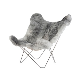 Cuero Butterfly Chair Sheepskin Iceland Mariposa Natural Grey