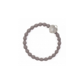 ByEloise London hårsnodd Silver Heart Lock Cloudy Grey