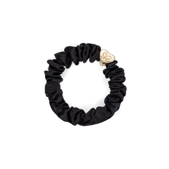 ByEloise London hårsnodd Gold Heart Silk Scrunchie Black
