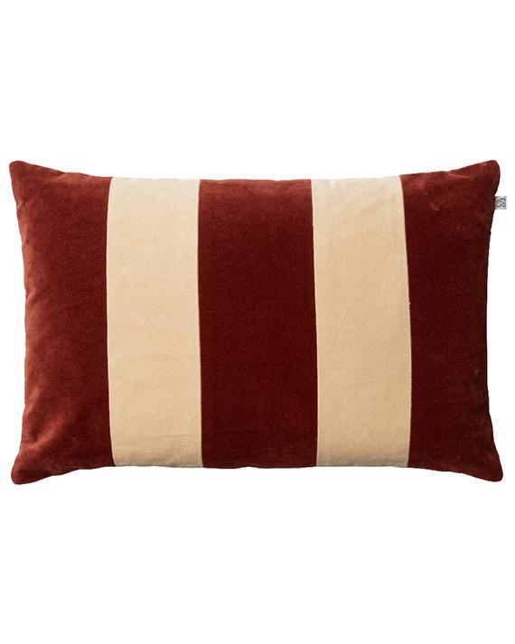 Chhatwal & Jonsson Kudde Debra Velvet Stripe Dark Chilli Red/Beige