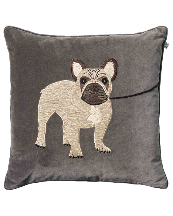 Chhatwal & Jonsson Kudde Velvet Embroidered French Bull Dog