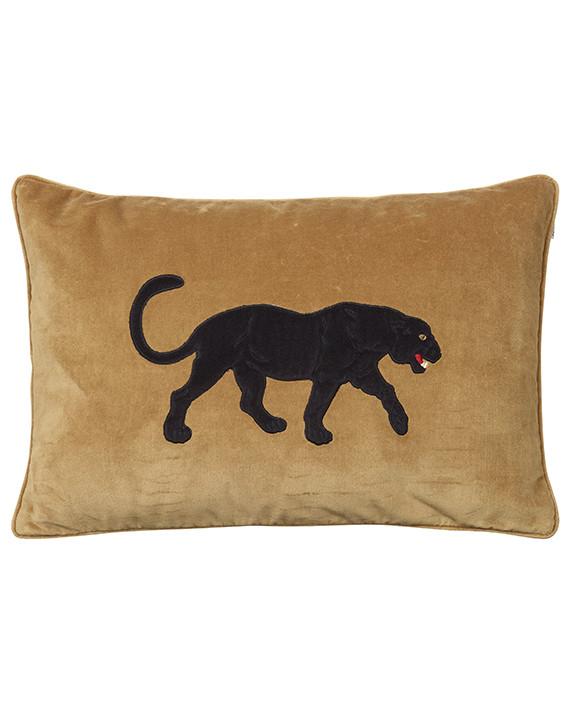 Chhatwal & Jonsson Kudde Velvet Embroidered Black Panther Masala Yellow 40x60 cm