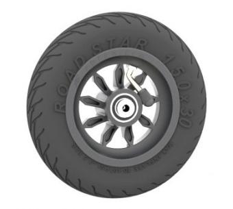 Komplett hjul med 9 ekrar Road Star däck
