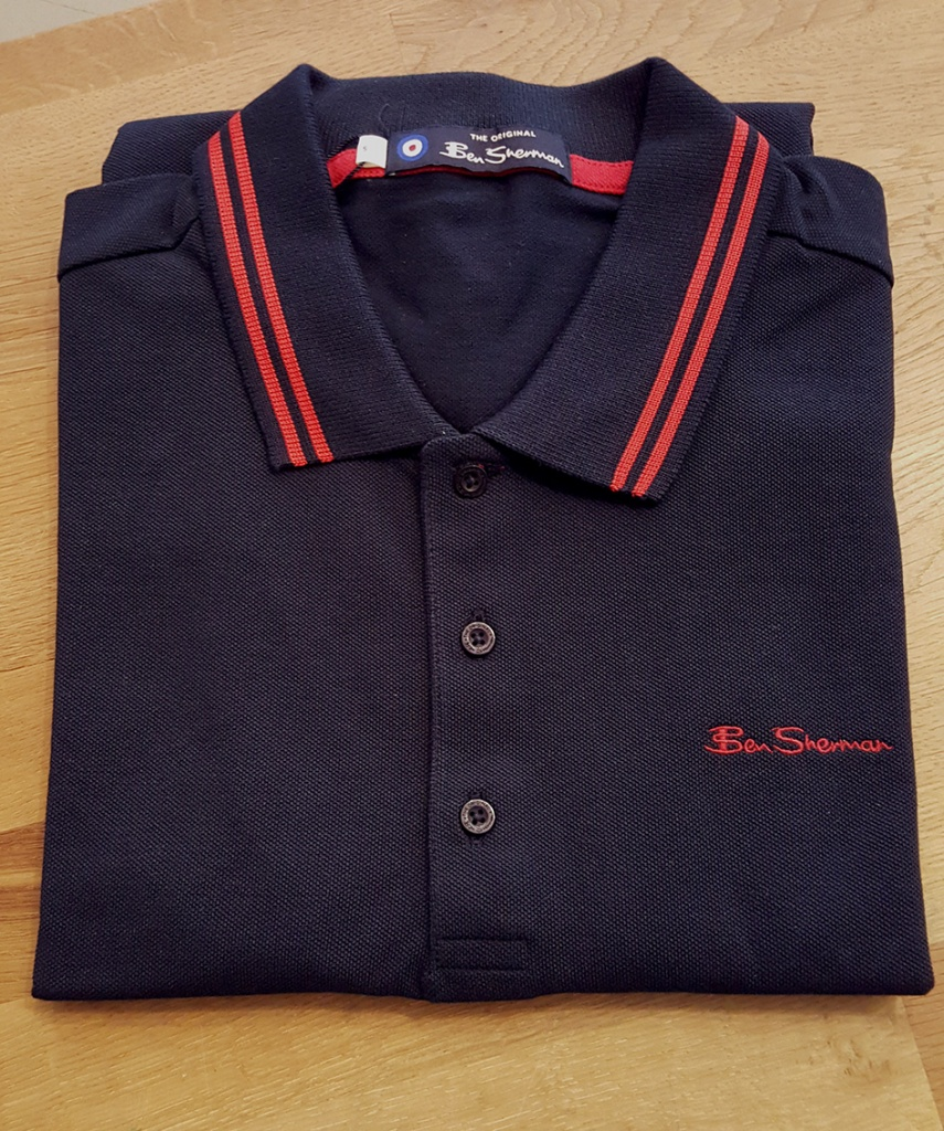 SCRIPT TIPPED POLO navy