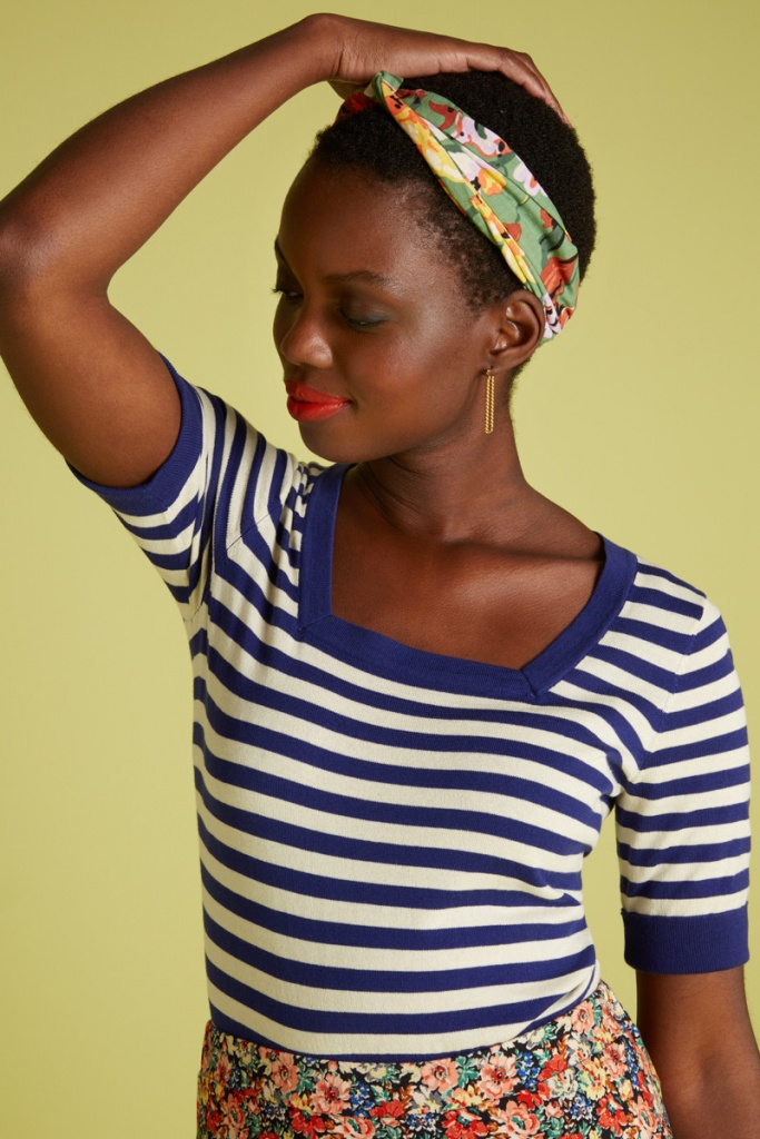 King Louie square top Classic Stripe blue