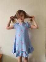 Allie Peplum Dress Blue Flamingoes