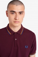 Twin Tipped Fred Perry Shirt Mahogany/Amber/Nautical Blue