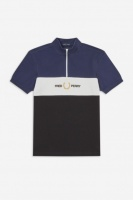Fred Perry Funnel Neck Polo Shirt carbon blue