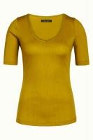 Carice V Top Tencel Rib Curry Yellow