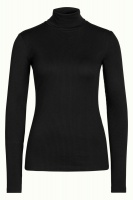Rollneck Top Tencel Rib Black