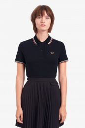 Twin Tipped Fred Perry Shirt Navy / Snow White / Light Rust