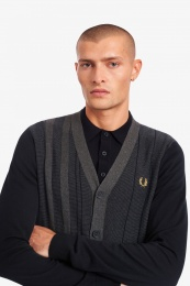 Fred Perry Textured Stripe Cardigan Navy
