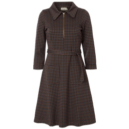 Jumperfabriken dress Tea dogtooth brown